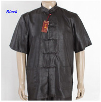 100 Wateredgauze Silk Male Black Shirt Pure Silk Chinese Traditional Short Sleeve Tang Suit Silk Standing