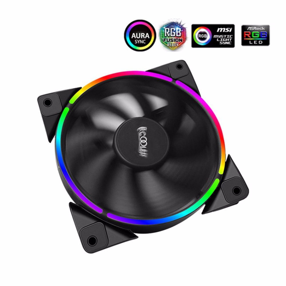 PCCOOLER 12cm RGB LED Light PC Cooling Fan Smart 4 Pin PWM Quiet PC Case Chassis Fan with AURA Regulation for Computer Case pccooler 12cm computer case cooling fan quiet cpu and power cooler fan cooling radiator fan 120mm computer pc chassis fan silent