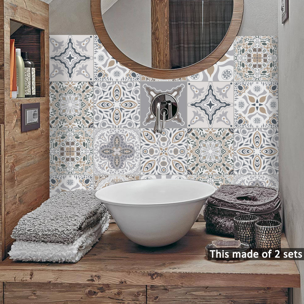 moroccan pvc tile stickers vintage wall art decal self adhesive waterproof kitchen bathroom furniture decor stickers decals