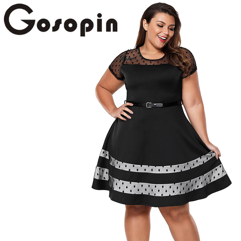 Gosopin Plus Size Vintage Dress Office Ladies 2018 New Fashion Summer Dress With Belt European Patchwork Party Dresses LC61970