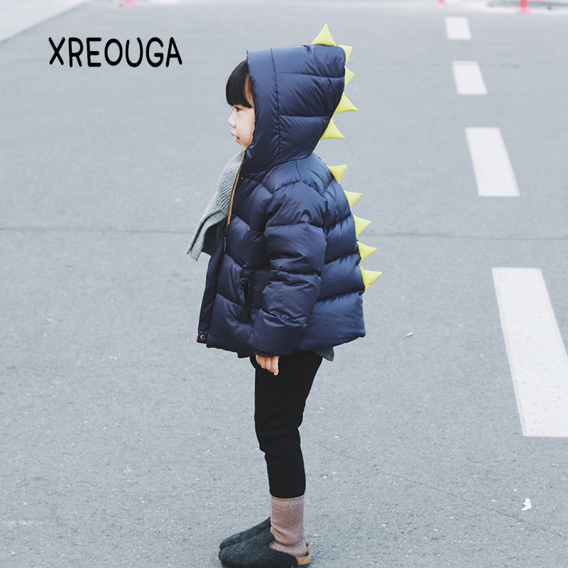 New Dinosaur Style Kids Baby Girls Down Coat Winter Thick Warm Boy Girl 90% Duck Down Jacket Solid Cartoon Children Outwear DD01 2017 new authentic baby girl and boy sports style jacket children winter jacket style size 3 6 year old children s thin coat