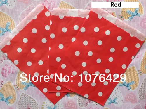 50 Pcs 2 Pack Red Polka Dot Treat Craft Bags Favor Food Paper Party