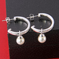 TS Pearl Creoles Hoop Earrings with Zirconia, Thomas   Style Glam and Soul Jewellery SIlver Plated Creolen Earings for Women