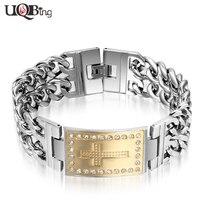 Luxury Crystal Rhinestone Women Men Cross Bracelets 316L Stainless Steel Double Layered Link Chain Bracelets For