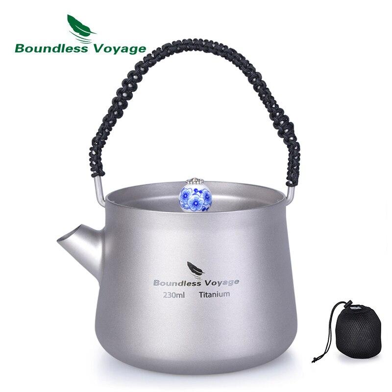 Voyage sans bornes 230 ml Mini bouilloire en titane avec filtre Anti-échaudage poignée couvercle Camping eau café théière cantine cuisinière