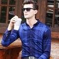 Marca de Moda Acetato De Tela Escocesa de Los Hombres Camisa Casual de Manga Larga Slim Fit Diseño de Alta Calidad Camisas de Vestir de Negocios Masculino Más Tamaño