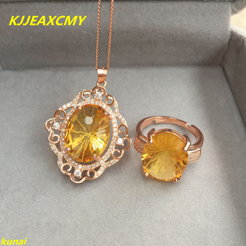 KJJEAXCMY boutique jewels 925 pure silver natural yellow crystal female money suit jewelry package stampKJJEAXCMY boutique jewels 925 pure silver natural yellow crystal female money suit jewelry package stamp