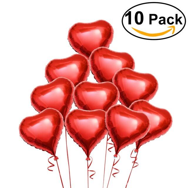 10 Stücke Rotes Herz Folie Heliumballons Mit Seile Für Valentinstag  Hochzeit Engagement Dekoration