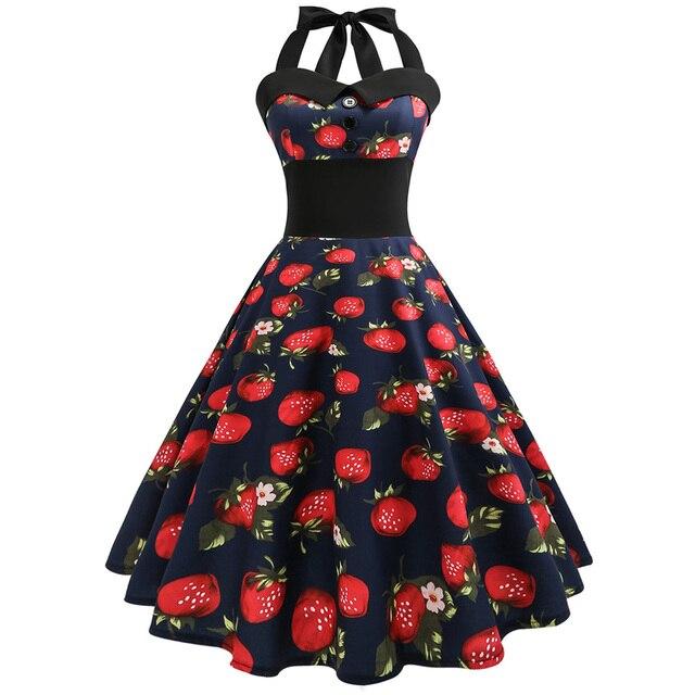 150460d8f6f 50S 60S Vintage Dress 2019 Women Summer Halter Strawberry Print Pin Up  Dress Retro Rockabilly Big Swing Party Dresses Vestidos