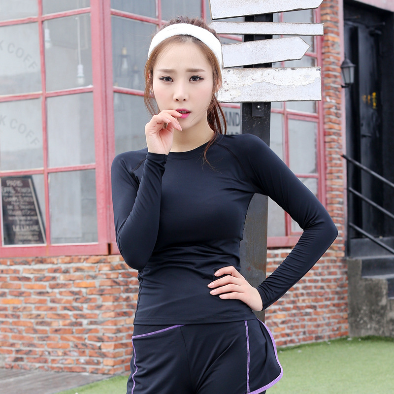 Women Gym Fitness Yoga Exercise Clothing Long Sleeve Sports T shirt Quick Drying Slim Shirt