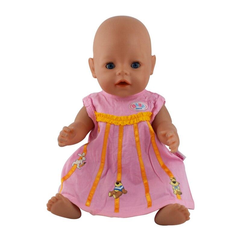 Pink dress doll clothes Wear fit 43cm Baby Born zapf, Children best Birthday Gift new fashion pink boots shoes wear fit 43cm baby born zapf children best birthday gift n445