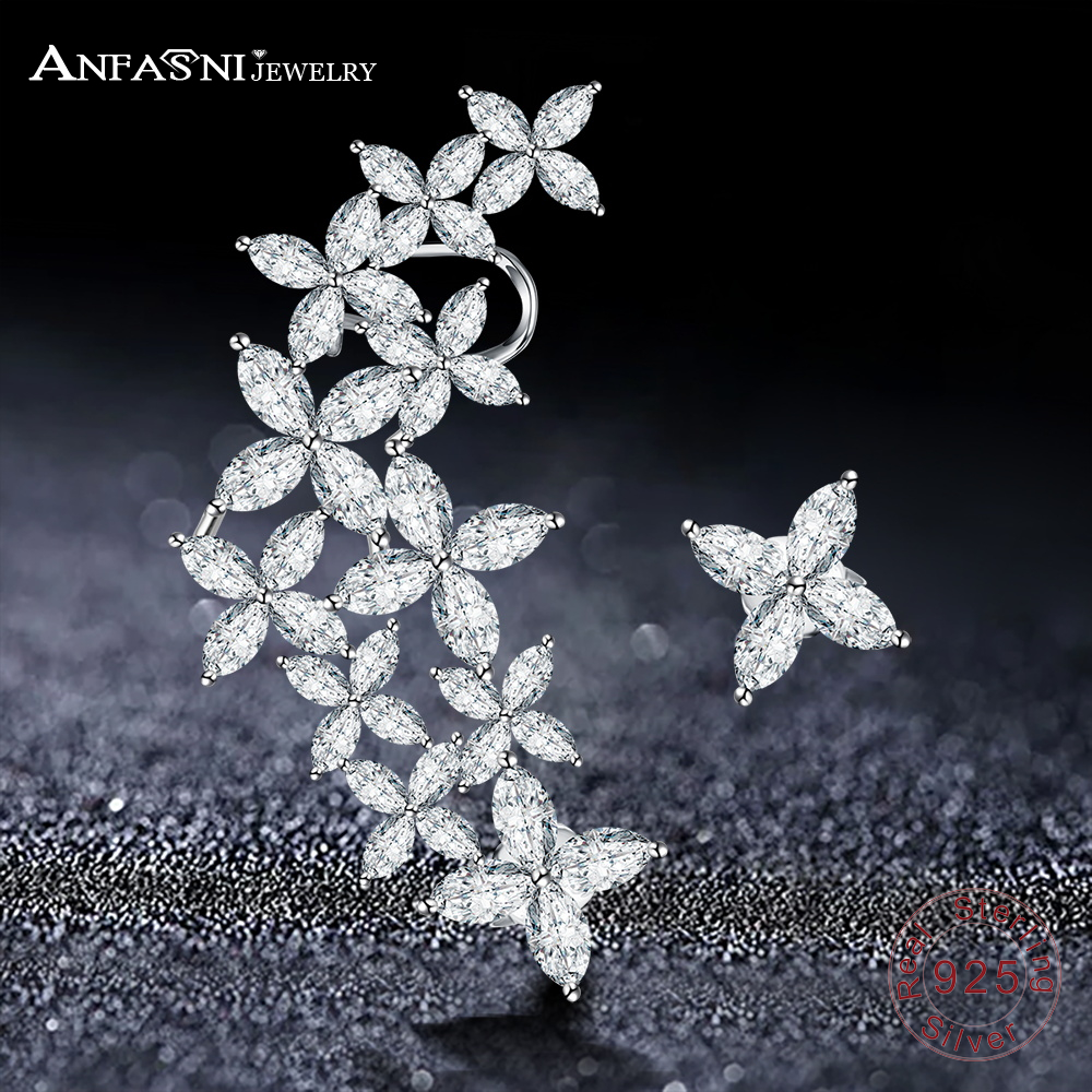 ANFASNI Fashion Luxury High Quality Zirconia Flower Shape 925 Sterling Silver Shinning Stud Earring For Women T020239 B