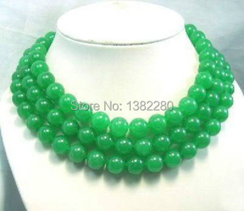 """Free shopping new 2014 DIY Wholesale 12MM Natural Green chalcedony Jaspers Round Beads Necklace 50""""   JT5896"""