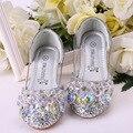 Детские туфли принцессы для девочек со стразами; модельные детские туфли для свадебной вечеринки для девочек; цвет розовый, синий, серебрис...