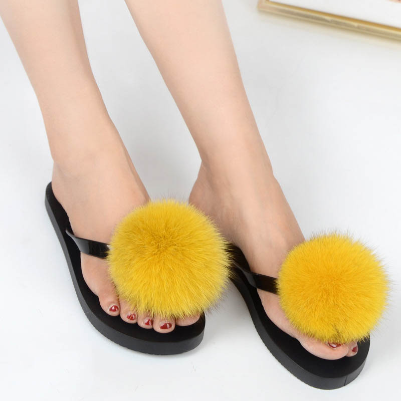 women slippers fox fur pompom (12)