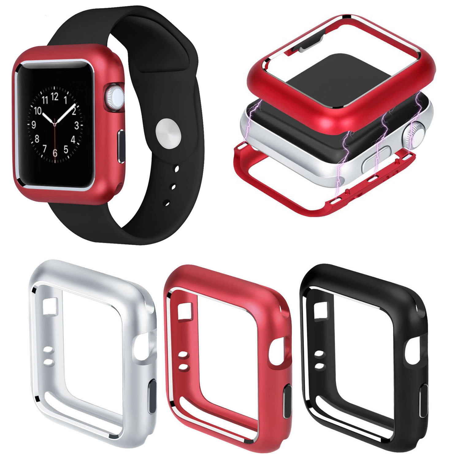 Aluminum Alloy Metal Cover for Apple Watch Case 40 44 mm 38 42 mm Magnetic Full Protection Cover for iWatch Series 5 4 3 2 Case image