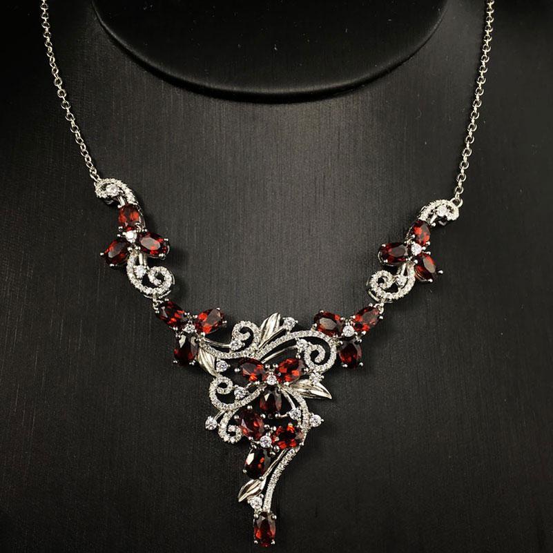 Natural garnet permata batu pernikahan kalung 925 sterling silver - Perhiasan bagus - Foto 3