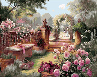 Landscape Royal Garden Flowers Home Decor No Frame Painting Pictures By Numbers Handwork Draw On Canvas
