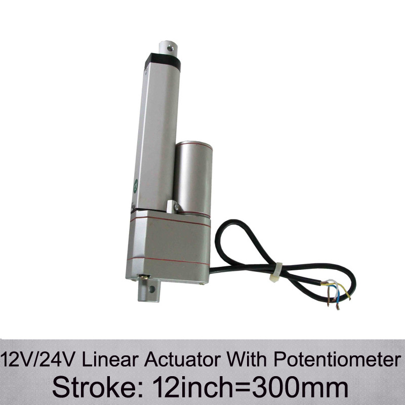 DC 12 24V 12inch 300mm Stroke 1000N 100KGS max push load Linear Actuator With Potentiometer and
