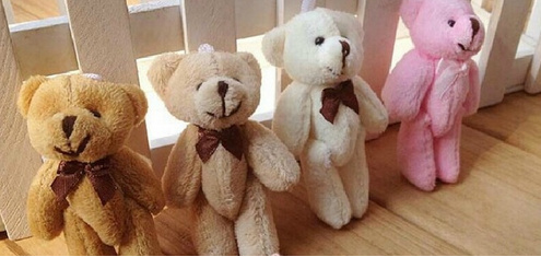 Smallest 8CM 4Colors Choice - Plush TOY Joint Bowtie  Bear ; Wedding Gift Bouquet DOLL TOY