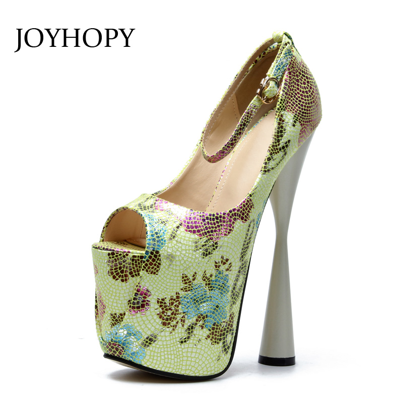 цена на JOYHOPY 2018 New Peep Toe High Heels Women Printing 19cm Thick Heel Platform Shoes Big Size 34- 43 Sexy Ankle Strap Pumps Woman