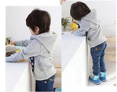 Stars Printed Baby Boys Kids Coat Hoodie Jacket Sweater Pullover Outwear 2-7Y