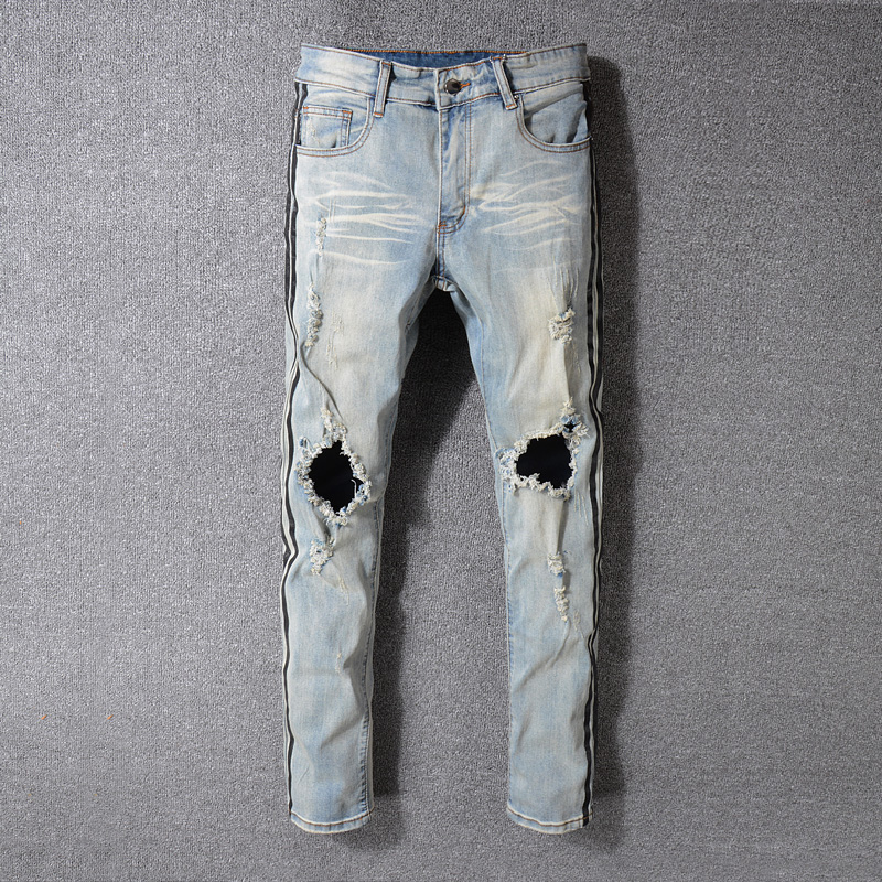 High Street Fashion Men's Jeans High Quality Elastic Hip Hop Jeans Men Punk Pants Brand Black Stripe Printed Skinny Ripped Jeans men elastic foot drawstring jeans