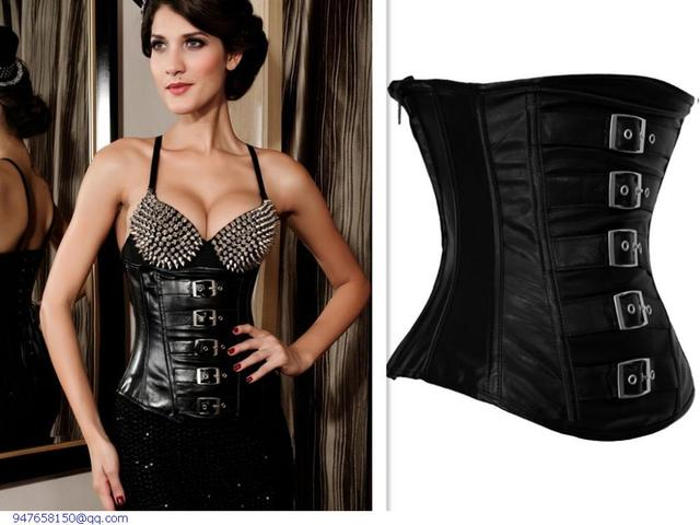 0dd1c59b22 Women Shapewear Slimming Underwear Shapers Waist Training Corsets Cincher  Black Red Gothic Leather Under Bust Slimming belt