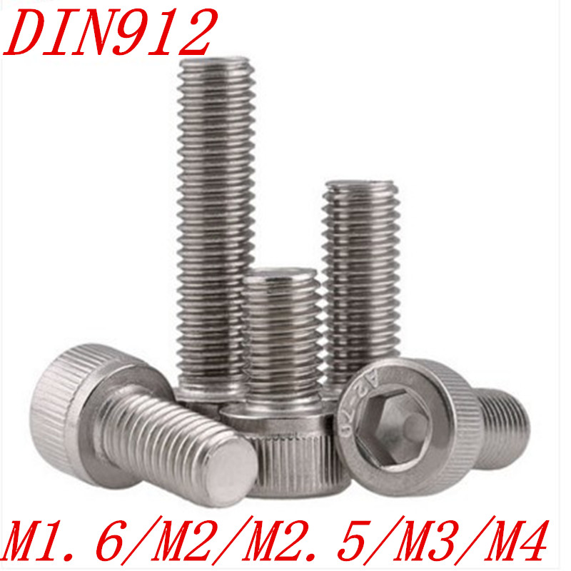 50pcs M1.6/M2/M2.5/M3/M4 DIN912 304 Stainless Steel Hexagon Socket Head Cap Screws Hex Socket Screw Metric Bike Screw akg pae5 m