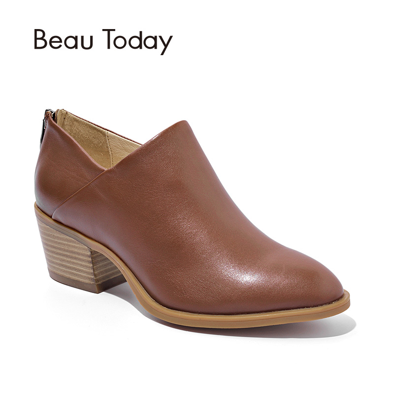 BeauToday Women Ankle Boots Brand Top Quality Calf Leather Zipper Pointed Toe Spring Autumn Lady Boots Handmade Shoes 03316 beautoday women chelase boots genuine calf leather top quality spring autumn ankle length ladies boots handmade 03239