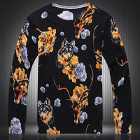 XUANYIFENG 2017 Chinese Style Sweater With Deer Men Sweaters Hombre Manga Larga Print Wolf Floral Knitted Pullovers Casual Men
