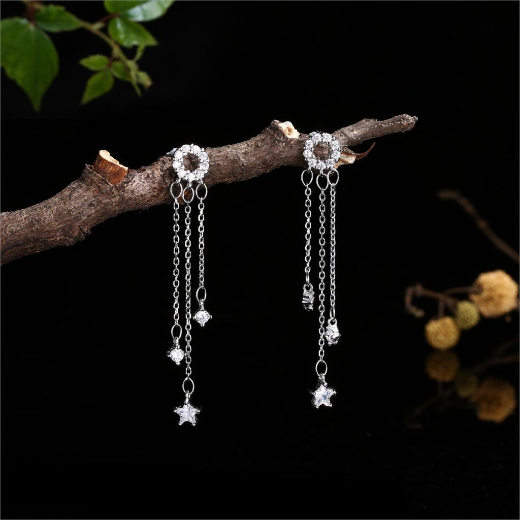 Luxury Brand Jewelry Women Silver Earings Zircon Star 925