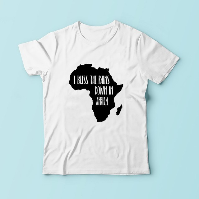 ec768c657 I BLESS THE RAINS DOWN IN AFRICA Creative map t shirt men new white  comfortable tshirt homme casual plus size T-Shirt
