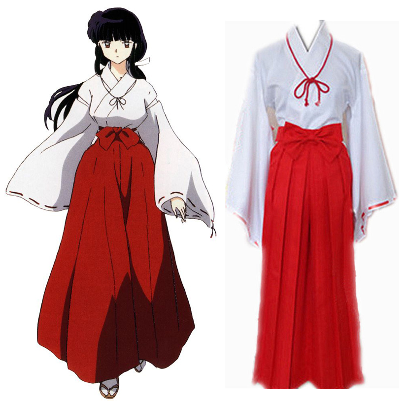 Inuyasha Kikyo Kimono Cosplay Costume Full Set Mikofuku Uniform ( Top + Skirt + Bowknot + Belt + Rope + Ribbon )