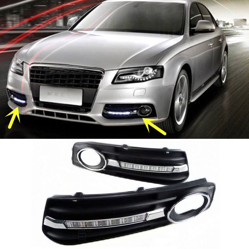 Chrome LED Daytime Running DRL With Fog Lights Lamp Cover For AUDI A4 A4L B8 2009 2010 2011 1 pair car fog light bezel grille cover led daytime running lamp white light for audi a4 b8 2009 2010 2011 2012