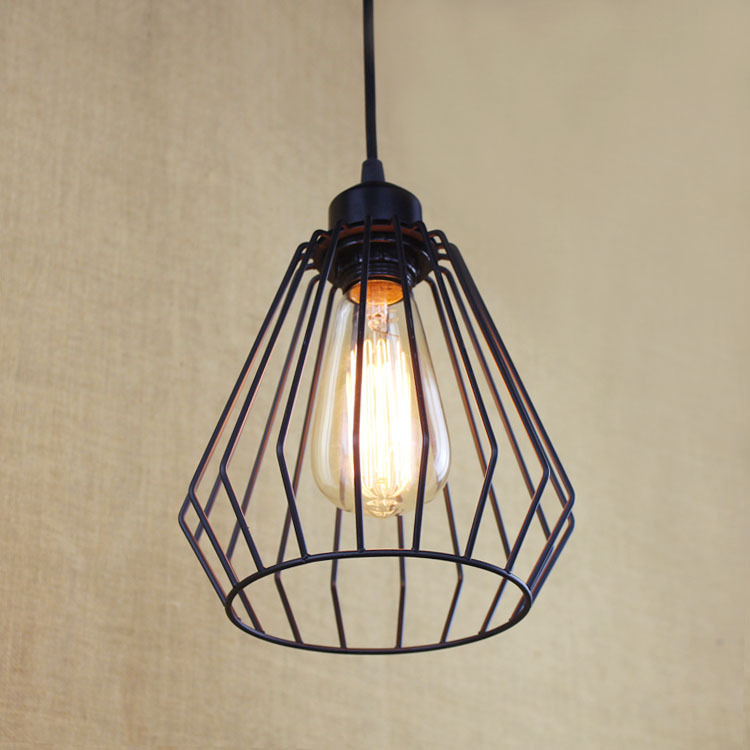 Vintage Iron Pendant Light Industrial Loft Retro Droplight Cafe Bedroom Restaurant American Style Hanging Lamp E27 Edison WPL094 vintage iron pendant light loft industrial lighting glass guard design cage pendant lamp hanging lights e27 bar cafe restaurant