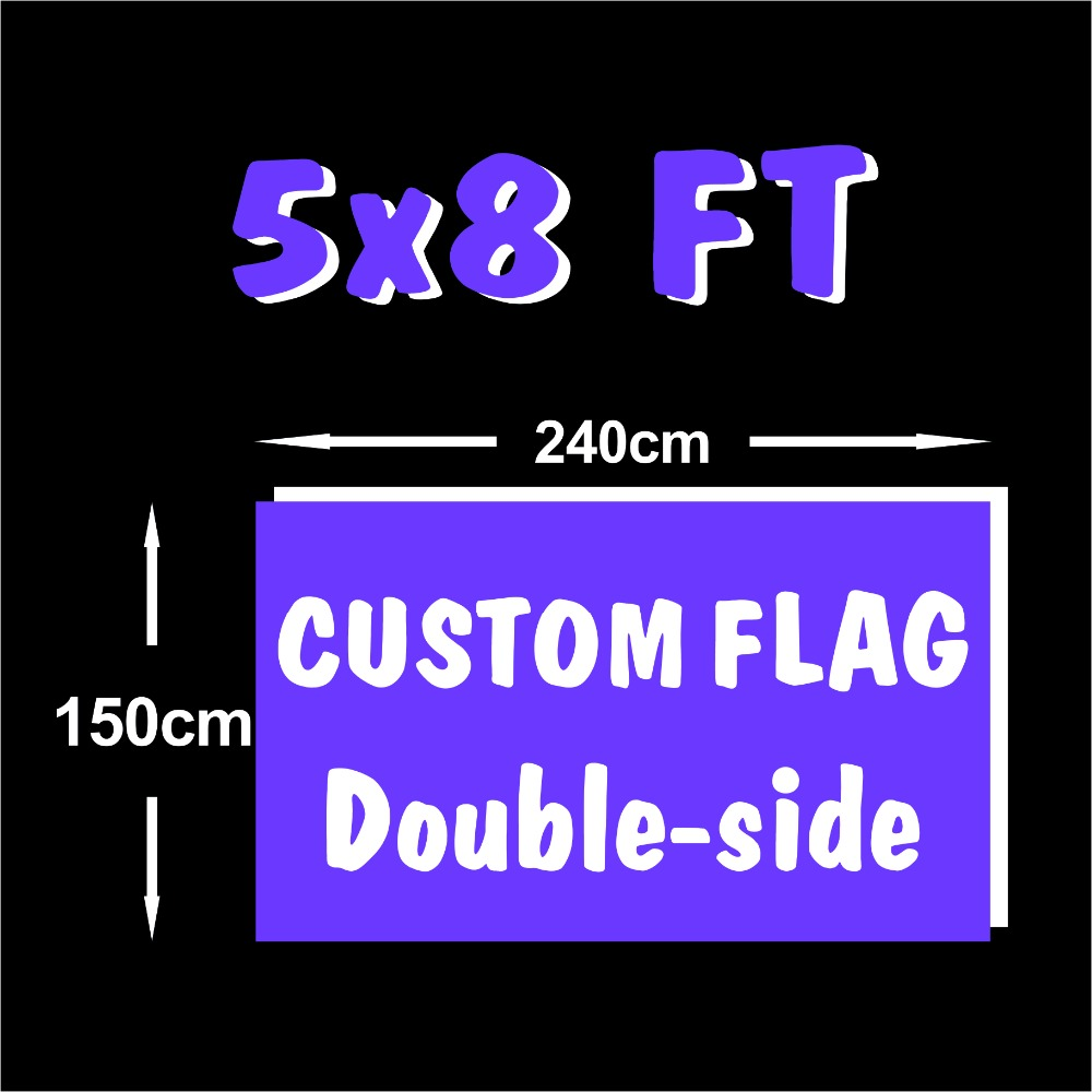 Custom Flag 5x8FT Double Side Polyester Flag all logo all color royal flag With White Sleeve