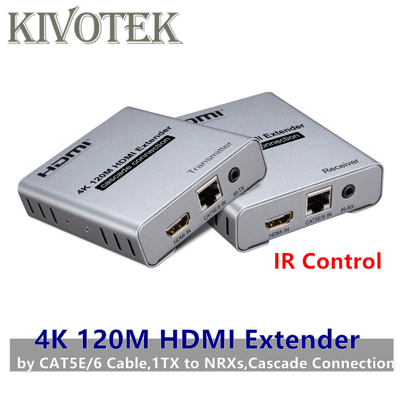 4K HDMI Extender Adapter IR Sender To Receiver 120m by CAT Cable Network UTP Female Connector