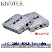 4K HDMI Extender IR Sender ไปยัง Receiver 120m โดยแมวสายเคเบิลเครือข่าย UTP หญิง, 1TX to NRXs สำหรับ HDTV จัดส่งฟรี