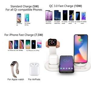 Image 3 - Беспроводное зарядное устройство Qi 4 в 1, держатель для Apple Watch Series 5 4 3 2 Iwatch Airpods Iphone 11 Pro Max XS MAX XR X, док станция