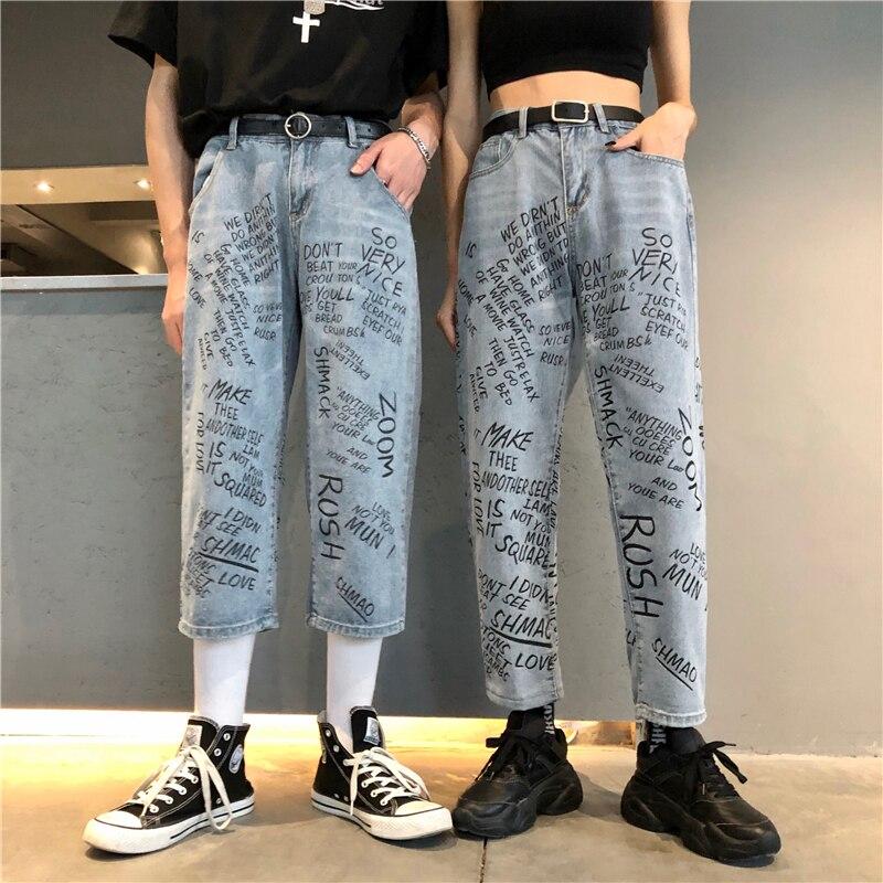 New Cotton Jeans Women 2019 Vintage Denim Nine Pants Loose High Waist Cropped Trousers Harajuku English Graffiti Jeans Female