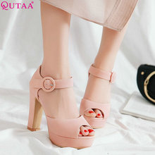 QUTAA 2020 النساء مضخات زقزقة اصبع القدم مربع عالية الكعب عارضة أسود مثير أزياء النساء الأحذية منصة المرأة مضخات حجم 34 -43