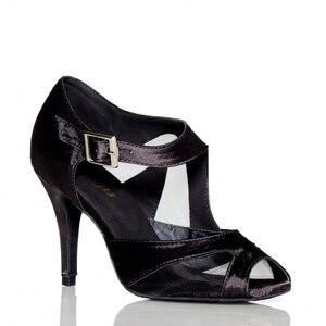 Image 5 - Yeni Marka Kızlar kadın Balo Tango Salsa Latin Dans Ayakkabıları Mor Saten Örgü Bayanlar