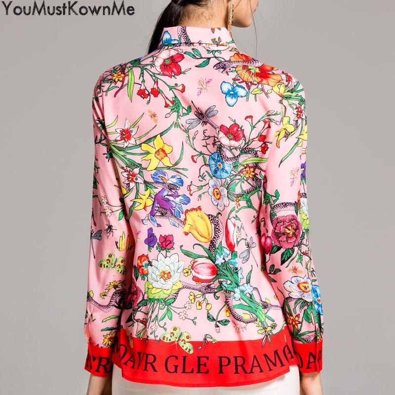 2019 femmes blouses à manches longues chemise serpent imprimer lettre fleur imprimé grande taille femmes blouses femmes mode piste rose chemises - 4