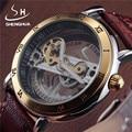 SHENHUA Punk Gold Case Transparent Diamond Skeleton Crystal Inlaid Men Automatic Mechanical Brown Leather Bracelet Wrist Watch