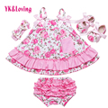 2017 Summer Style Baby Swing Top Baby Girls Clothing Set Infant Flower Ruffle Outfits Bloomer Headband Newborn Girl Clothes Sets