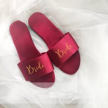 Free Shipping 5 pairs lot Unique Custom Gold name logo Bride be to hen night party Bridesmaid gifts Wedding Satin Slippers(China)