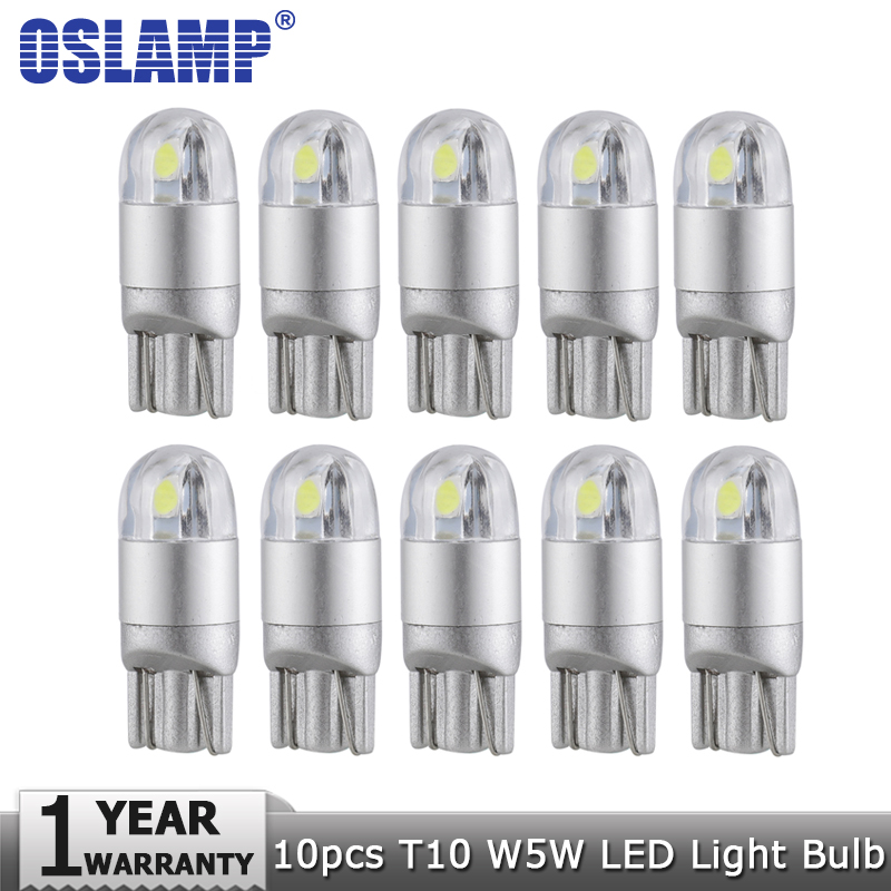 Oslamp 10pcs T10 W5W 194 Car Light Bulb Led Turn Signal Light White 12v Signal Lamp Clearance Light Reading Dashboard Door Light t10 3528 3w white light 21 led car signal light bulbs 2 pack dc 12v