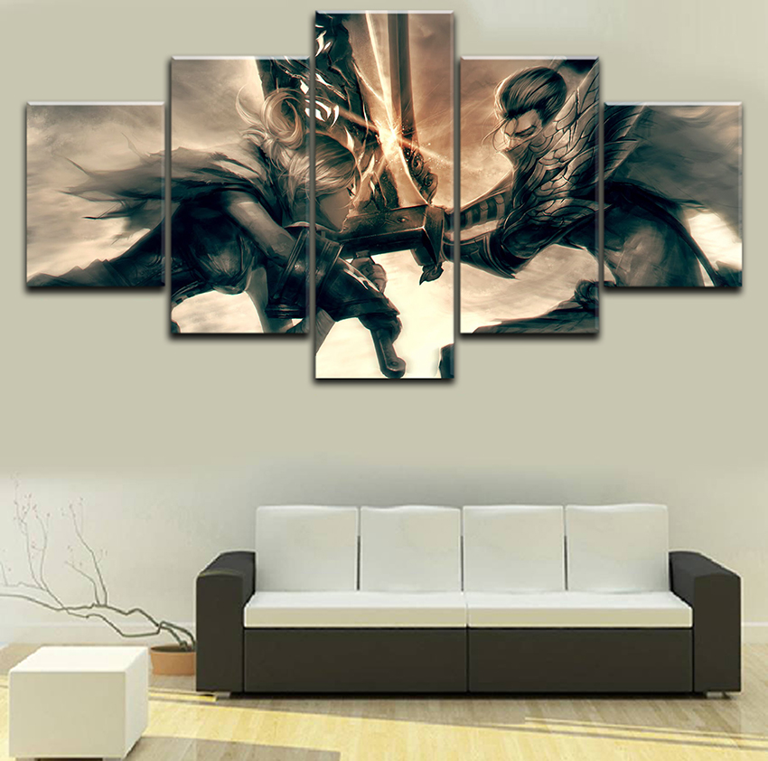 Canvas Print Painting 5 Piece League Legends Riven Yasuo Modular Picture  Modern Bedroom Living Room Wall Art