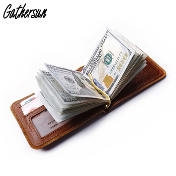 f484ae520 Gathersun de cuero dinero Clip cartera con 6 ranuras de tarjeta de crédito Slim  de los hombres de bolsillo recargable Clip de resorte